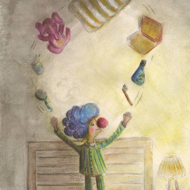 Clown juggling bedtime items