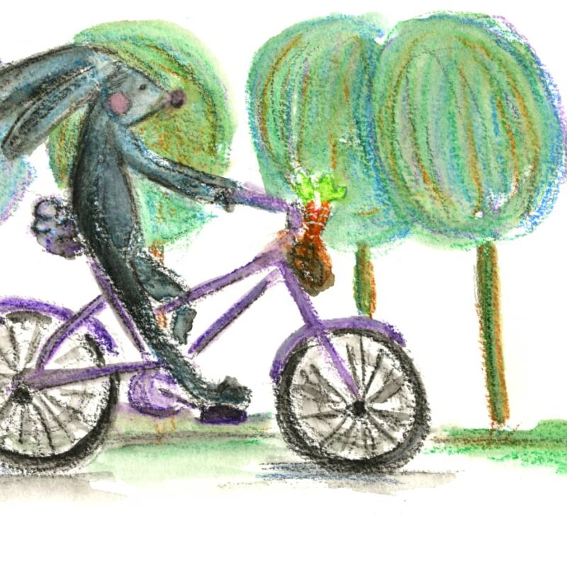 Bunny riding a bike in the park