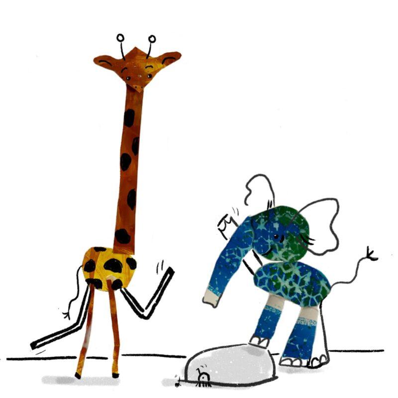 Giraffe and elephant waving hello