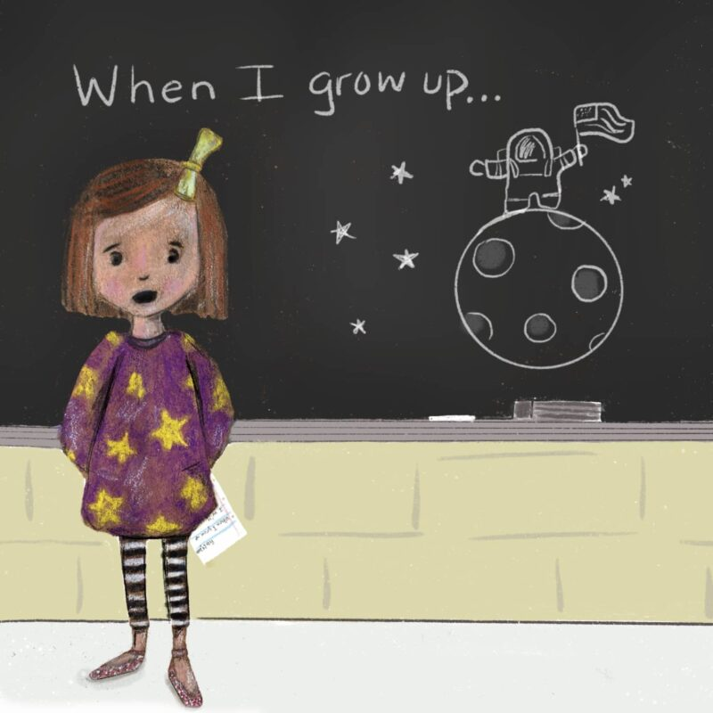 Girl in front of a blackboard presenting