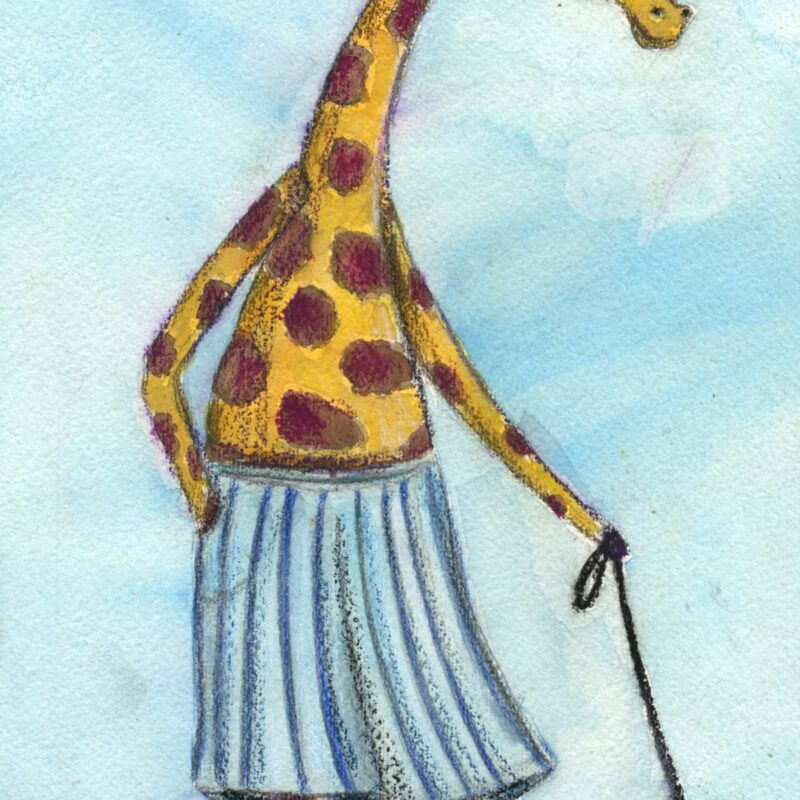Giraffe walks dog in pants