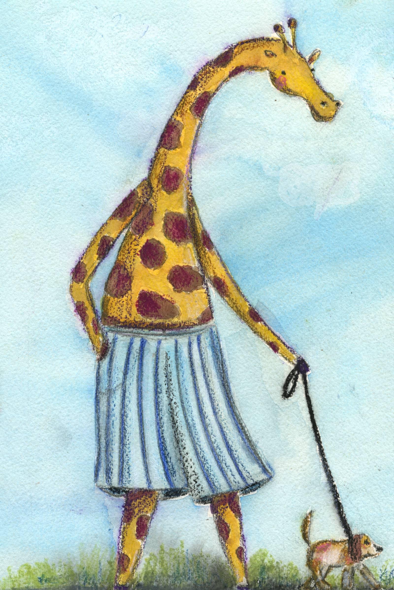 Giraffe walks dog in pants