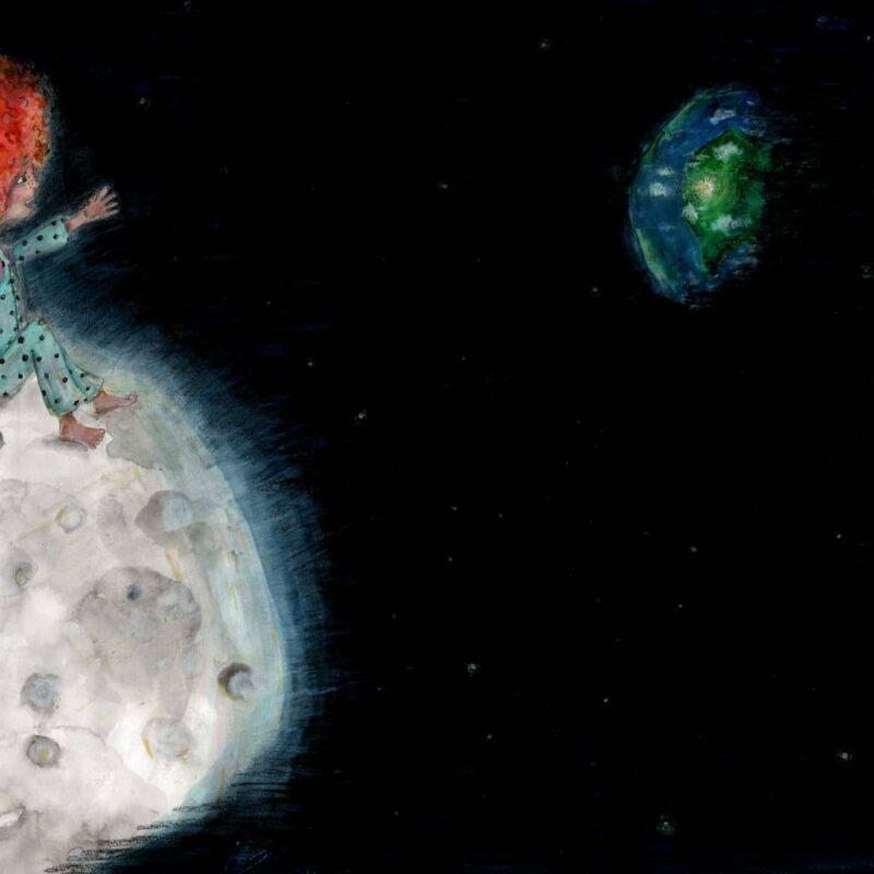 Girl atop the moon