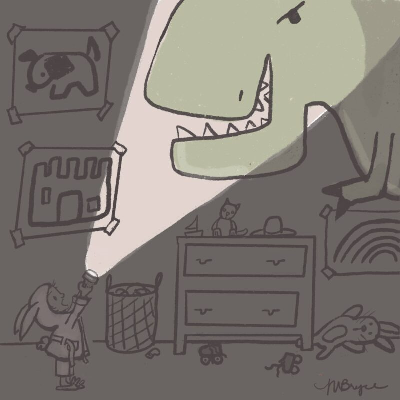 girl reveals a dino in her room with a flashlight
